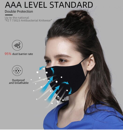 Ansiktsmask 100% andningsbar bomulls antibakteriell
