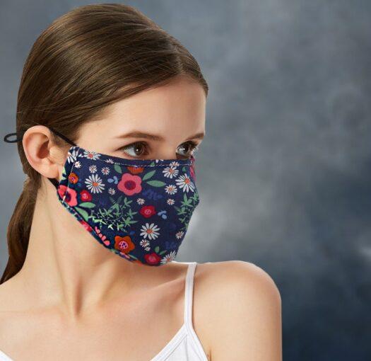 Breathable 100% Cotton Floral Blue Face Mask Cloth Mask